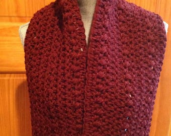 Cowl neck Scarf in Cranberry red