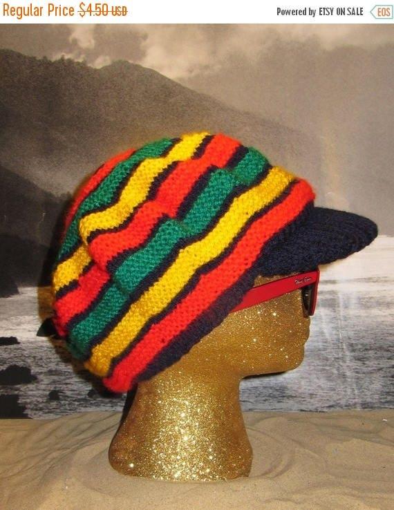 40% OFF SALE Digital pdf file knitting pattern - madmonkeyknits Trenchtown Peak Tam Rasta hat pdf knitting pattern