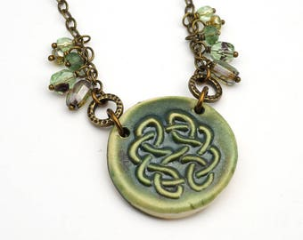 Green Celtic necklace, antiqued brass chain, knotwork jewelry 21 inches long