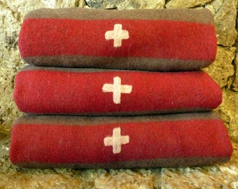 Authentic Swiss Wool Army Red Cross Blanket, 1960's