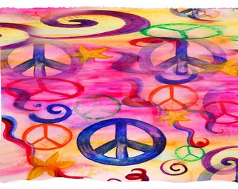 Peace sign beach picnic or throw blanket from my original art.