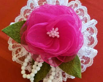 Pink Cabbage Rose White Lace White Pearls Brooch Hair Clip Etc