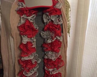 Red/grey Sashay scarf