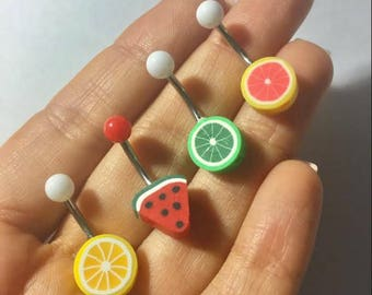 Belly Button Ring Jewelry Fruit Watermelon Grapefruit Lime Lemon Slice Navel Stud Jewelry Bar Barbell Piercing