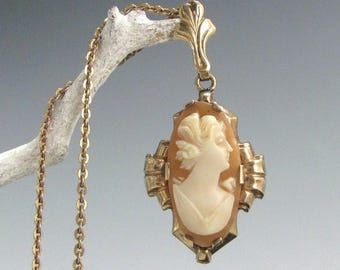 """Vintage 10k ART DECO CAMEO Pendant Necklace Carved Shell 17"""" Chain"""