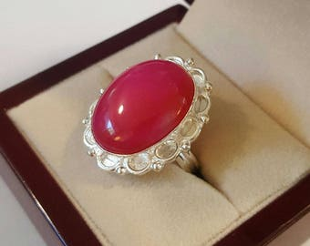Sterling Silver and Pink Botswana Agate Cabochon Ring Size 8 1/2