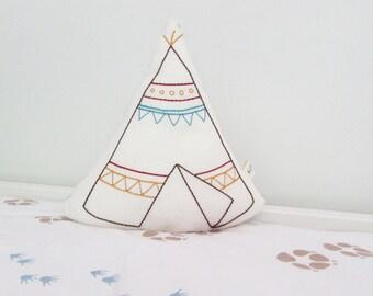 organic pillow, teepee shaped pillow, teepee cushion, plush teepee, boho decor, hand embroidered nursery, tribal