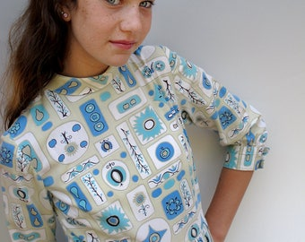 50s Vintage Cotton Print Dress XS to S, Blue Beige Atomic Print Homemade Day Dress Petite Small