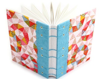 Blue Quilt Journal - handmade by Ruth Bleakley from Japanese Chiyogami Paper
