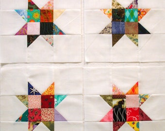 Scrappy Floating Sawtooth Stars Pieced Quilt Blocks