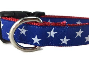 Dog Collar, Blue Stars, 1 inch wide, adjustable, quick release, metal buckle, chain, martingale, hybrid, nylon, american, patriotic