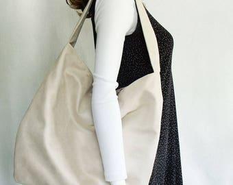 Cream Faux Suede slouchy hobo handbag, extra large shoulder bag, women's everyday fashion bag, super soft creamy suede-look handbag