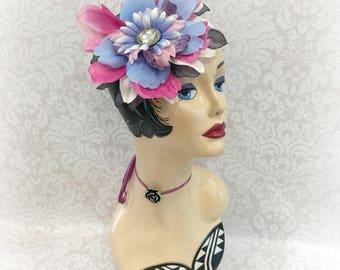 Flower Fascinator - Multicolor Fascinator - Floral Mini Hat - Races Headpiece - Kentucky Derby Hat - Multi Color Hat - Wedding Fascinator
