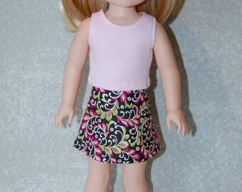Pink Tank Top and skirt set handmade for 14.5 inch Wellie Wishers tkct1126