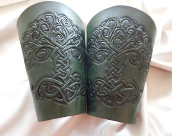 Celtic tree of life hand carved leather bracers, Druid, Fantasy