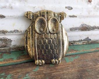 Vintge Brass Owl Belt Buckle 1970's Retro