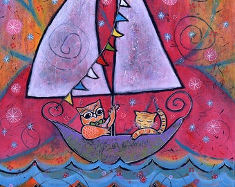 Original Owl and Pussy Cat Whimsical Painting - They Sailed Under the Light of the Moon