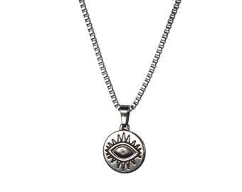 Evil eye necklace - stainless steel  - Greek jewelry - gift for him - protection - Good luck