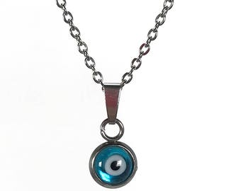Evil eye necklace - handmade jewelry - blue eye - stainless steel - protection - Greek jewelry - Gift for her - tiny necklace