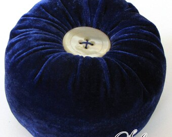 Cobalt & Ivory Pincushion | Large, Velvet Pin Holder with Button Accents | Handmade with Upcycled Materials | Low Waste and Eco-Friendly
