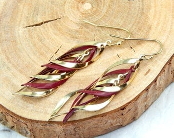 Red And Gold Spiral Earrings
