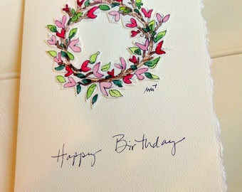 "Birthday Heart Wreath Watercolor Original Card ""Big Card"" 5x7 With Matching Envelope  betrueoriginals"