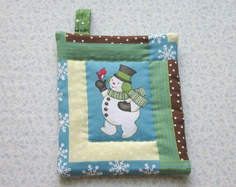 snowman with a red bird cardinal hand quilted insulated potholder hot pad with loop to hang