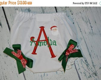 ON SALE Personalized Christmas Bloomers Personalized Diaper Cover SANTA