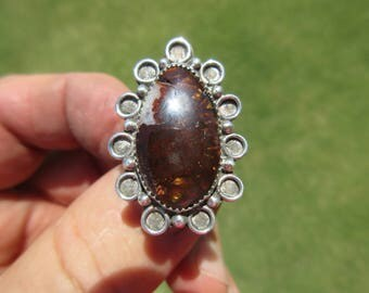 BEAUTIFUL BOUNTY from BAJA - Sterling Silver Mexican Fire Agate Ring - Size 9 1/4 - Free Resizing