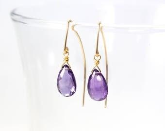 Amethyst Dangle Earrings, Amethyst Drop Earrings, February Birthstone, Gold Amethyst Earrings, Gold Fill Amethyst Earrings, Gold Wire Drops