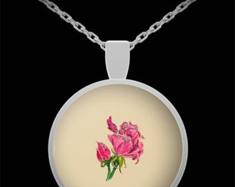 Study of a Rose Pendant Necklace - Wearable Art - Floral Gift for her -