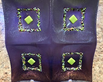 4-Part Dish, Fused Glass Tidbit Tray for Nuts Cheese Bite Size Treats, Iridescent Purple Glass, Handmade, Art Glass, Unique Design
