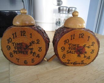 Yellowstone Park Wooden Alarm Clock Salt and Pepper Shakers