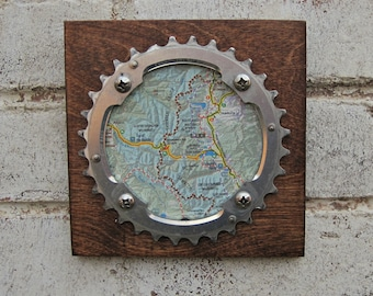 """6""""x6"""" Recycled Bicycle Chainring Leadville Plaque"""