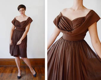 1950s Brown Pleated Bodice Dress - M