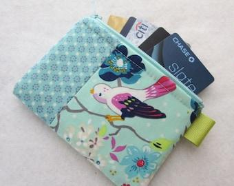 Gigi Blooms Tweets Bird Branch Fabric Business Card Case Coin Purse Zipper Credit Card Case Card Holder Wallet Purple Bird Aqua Mint