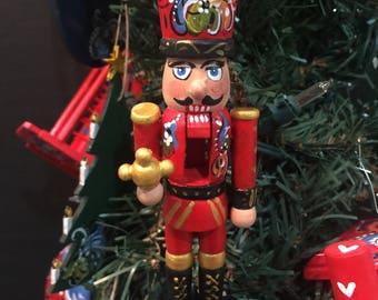 Hand painted wood nutcracker ornament