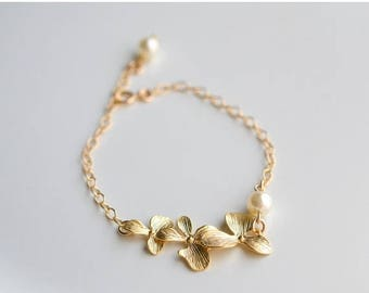 ON SALE Bridesmaid Jewelry Set of 5 Triple Orchid Gold Wedding Bracelets