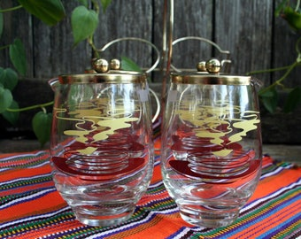 Super Cool Vintage Mid Century Condiment Jars With Metal Caddy
