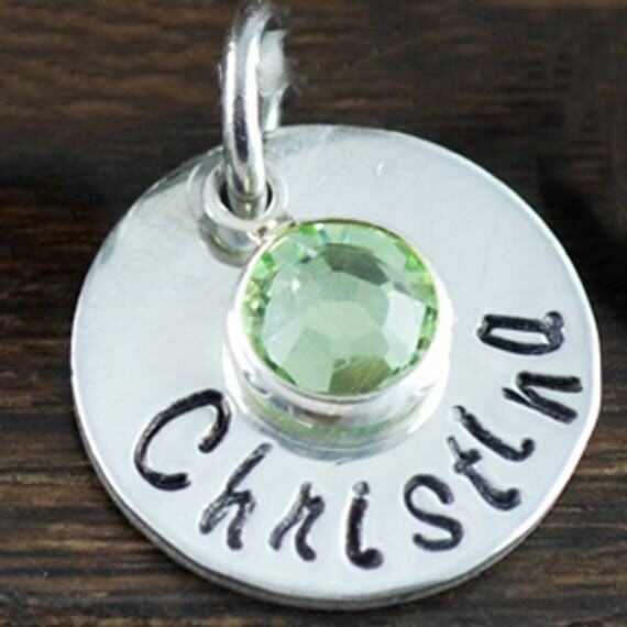 Add On - Sterling Silver FOR Necklace - Name with Bezel Birthstone for Necklace