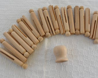 VINTAGE Wood Clothes Pegs from 1992/Wood Door or drawer Pull/Wooden Clothes Pegs/Wooden Clothes Pegs 4 Crafting Projects/Solid Wooden Pegs