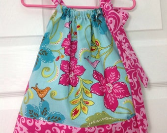 READY TO SHIP vibrant Floral Pillowcase Dress Size 2