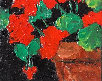 Miniature Impressionist Oil Painting 4x4 California Garden Red Geraniums Lynne French Art