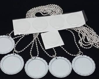 5 White Bottle Cap Necklace Kits with 24 inches silver ball chain, epoxy stickers, silver bottle caps, Bottle Caps necklace