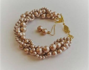 Twisted pearl bracelet powdered almond Swarovski crystal pearl multi strand twisted bracelet and earrings set with gold plated clasp bridal