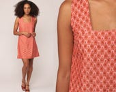 Mod Mini Dress Space Age 60s  Twiggy Shift Jumper Wallpaper Print 1960s Sleeveless Vintage Retro Sixties Pink Orange small