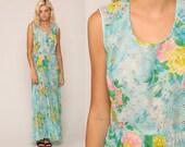 Floral Maxi Dress 70s Boho Long EYELET LACE High Waist Hippie Sheer Blue 1970s Summer Pleated Vintage Bohemian Retro Garden Party Medium