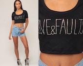 Graphic Shirt LOVE & FAULTS Crop Top Rhinestone Shirt Slogan Tshirt Heart Retro Tee Cropped T Shirt Vintage 90s Black Small Medium