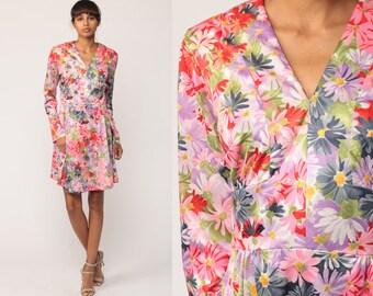 70s Boho Dress Floral Mini Empire Waist Long Sleeve Hippie Boho 1970s Deep V Neck Vintage Graphic Bohemian Retro Pink Purple Medium Large