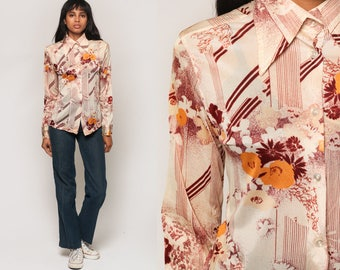 Floral Blouse 70s Boho Top Button Up Shirt Bohemian Long Sleeve 1970s Vintage Disco Hippie Collar Beige Burgundy Striped Small Medium